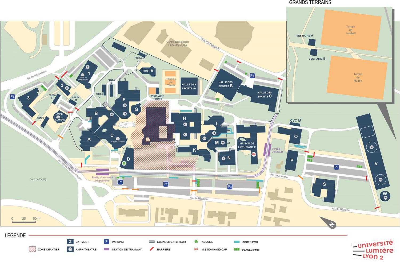 Université Lumière Lyon 2 - plan campus Porte des Alpes (2021/2022)